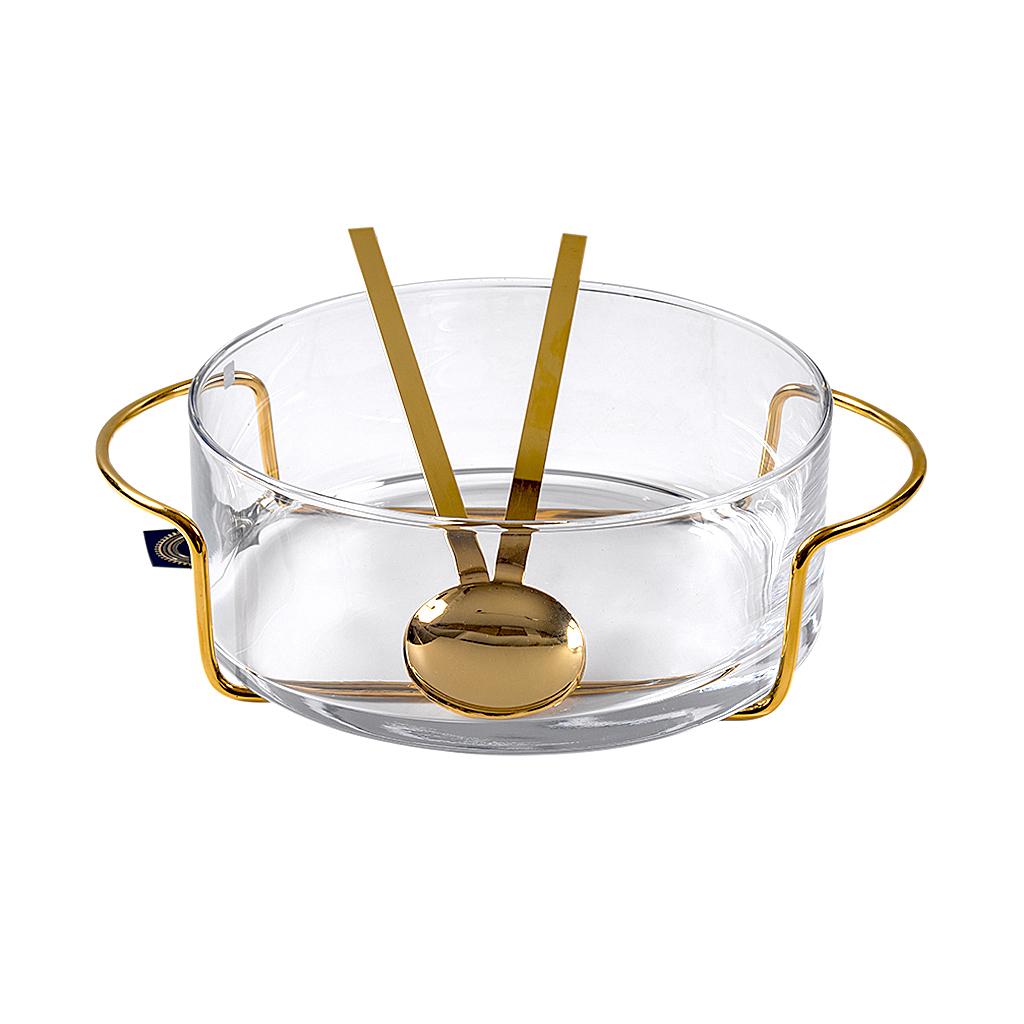 Saladeira Riccia ouro com talheres