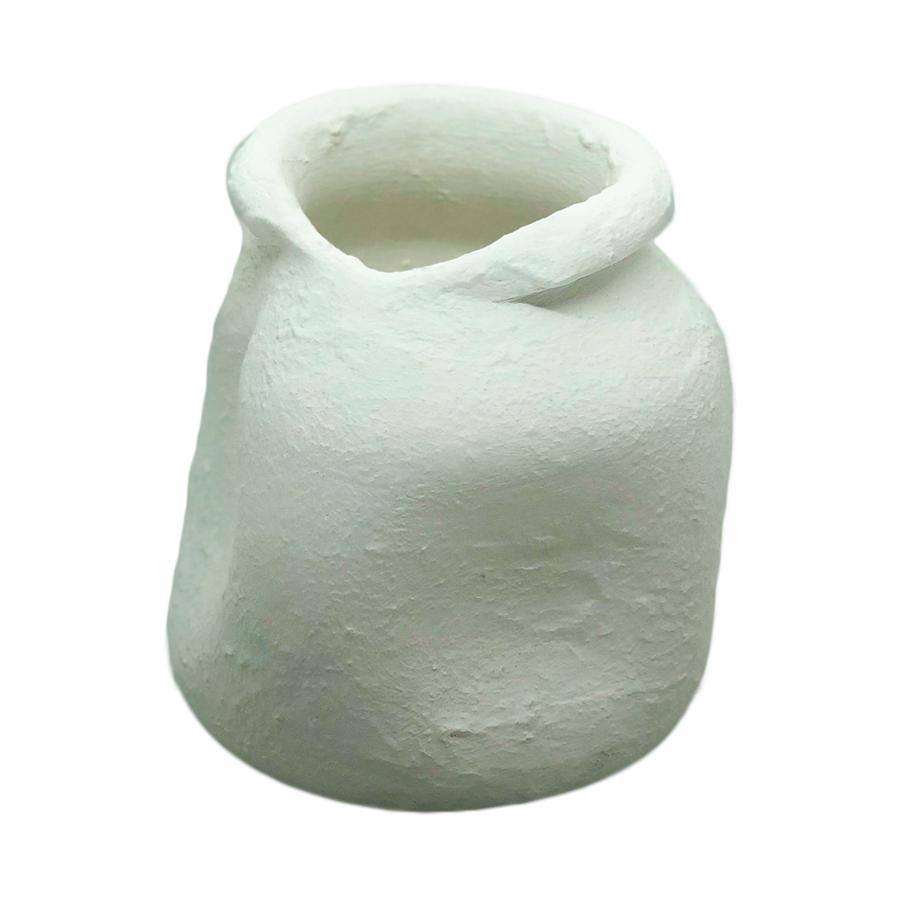 Vaso em cerâmica branca baixo