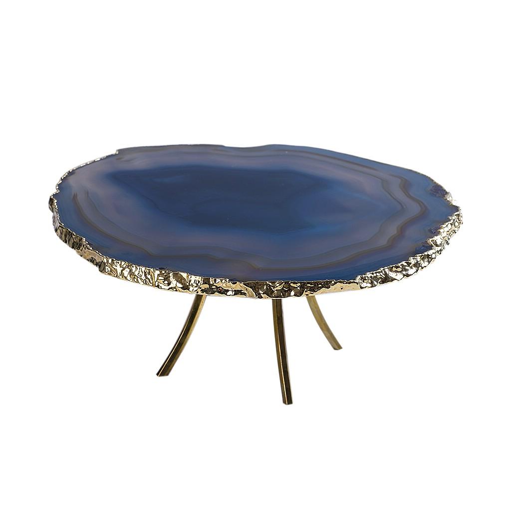 Pedra natural decorativa com pés dourados