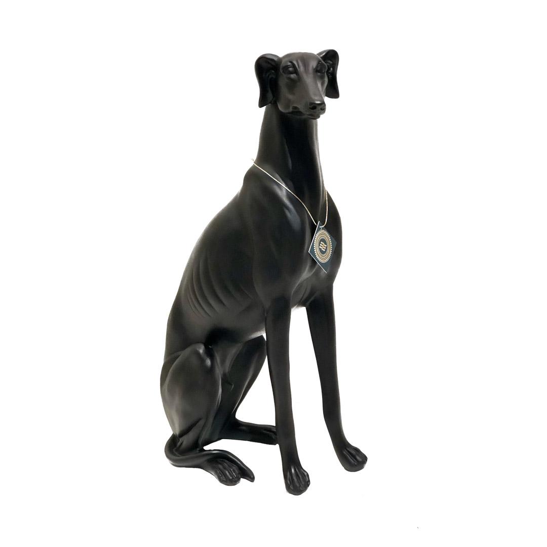 Escultura Cachorro Galgo preto em resina - 53cm
