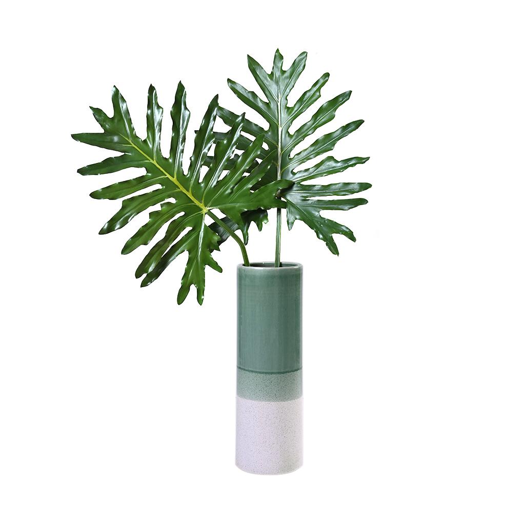 Vaso em cerâmica verde e bege G