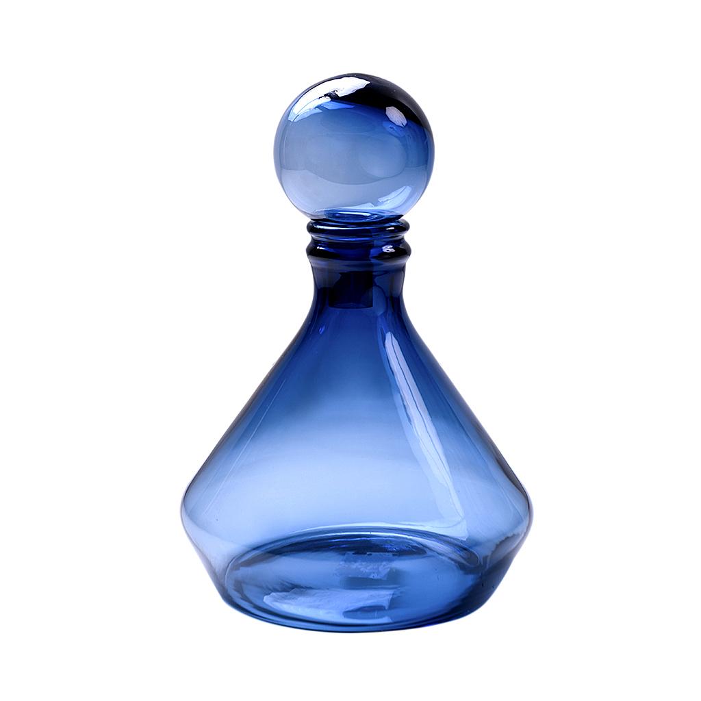 Garrafa de vidro baixa azul