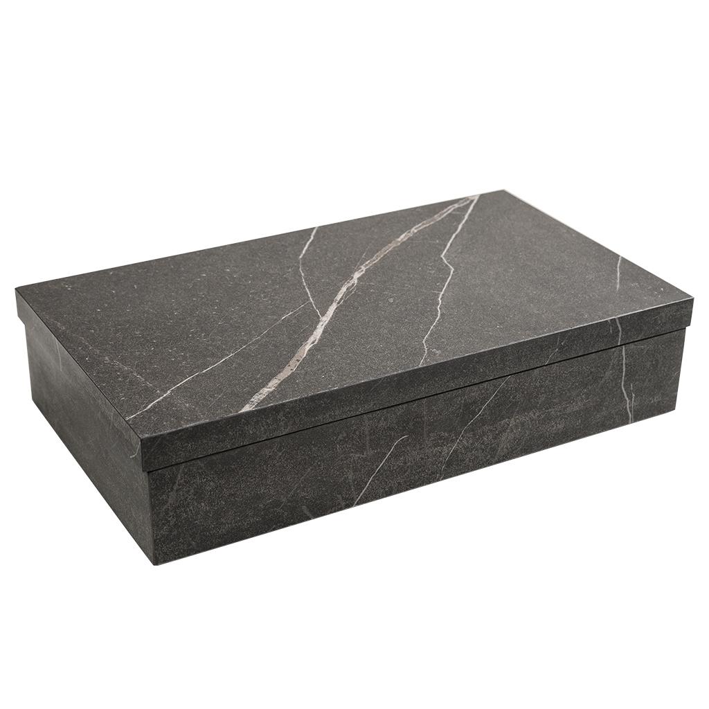 Caixa retangular decorativa cinza