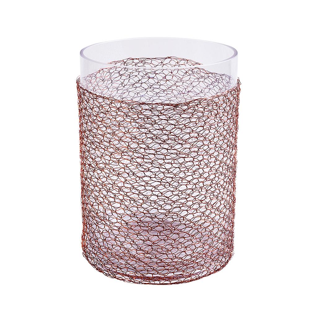 Vaso de vidro cilindrico baixo com malha de cobre