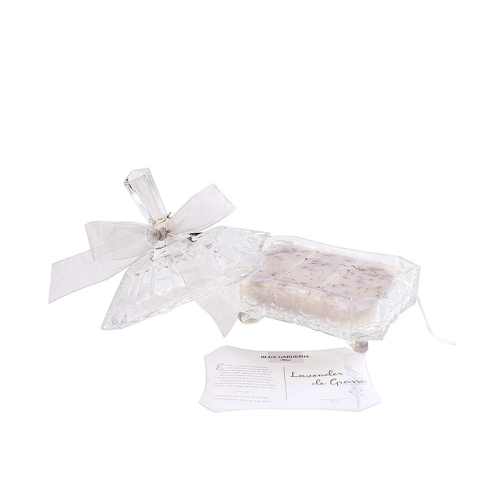 Caixa de cristal com sabonete de lavanda