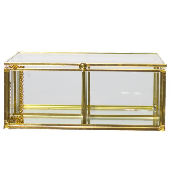 Caixa Vidro Metal Dourado