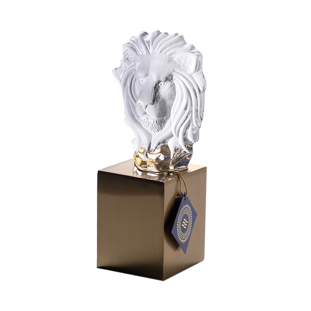 Escultura Leão vidro