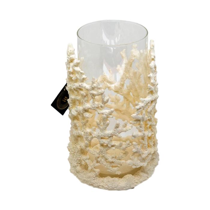 Castiçal Coral em resina branca
