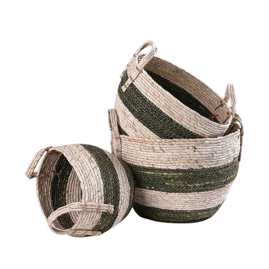 Conjunto de cestos em fibra natural
