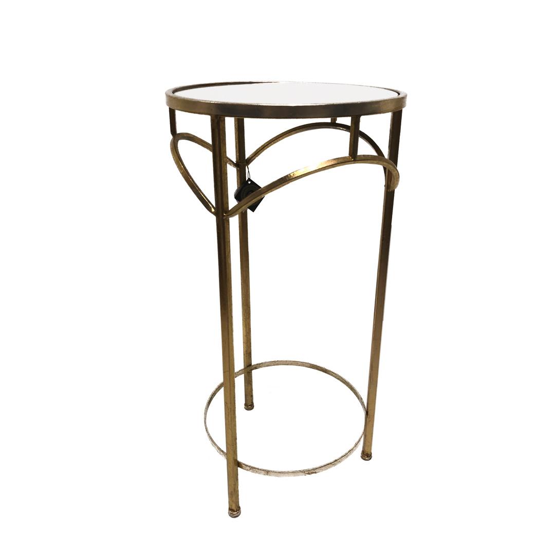 Mesa lateral em metal dourado