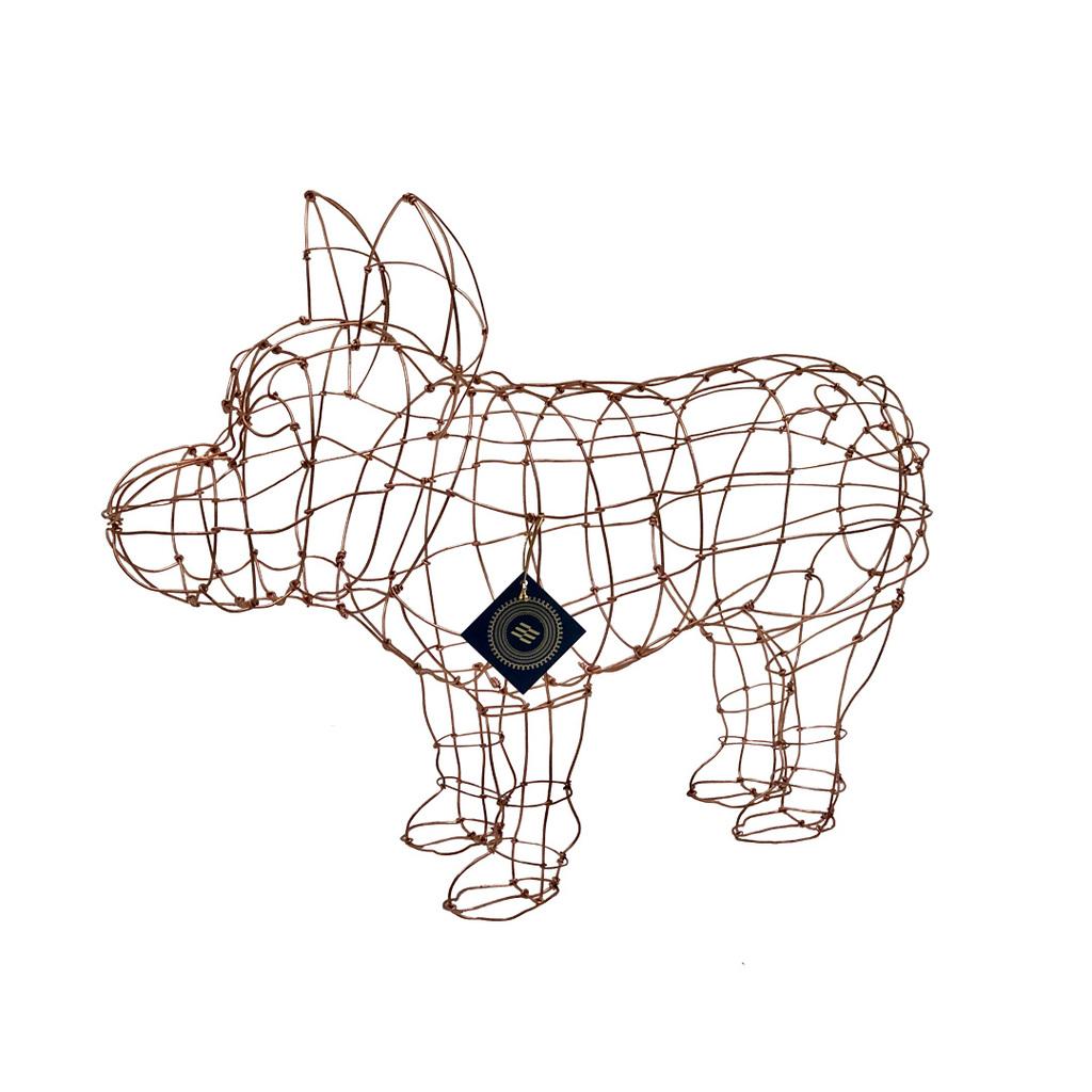Escultura Buldogue francês de arame