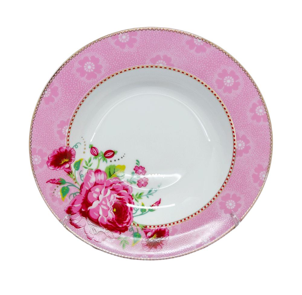 Prato de Sopa Rose Rosa