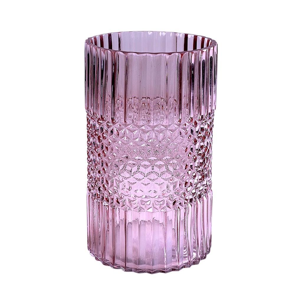 Vaso em vidro rosa trabalhado