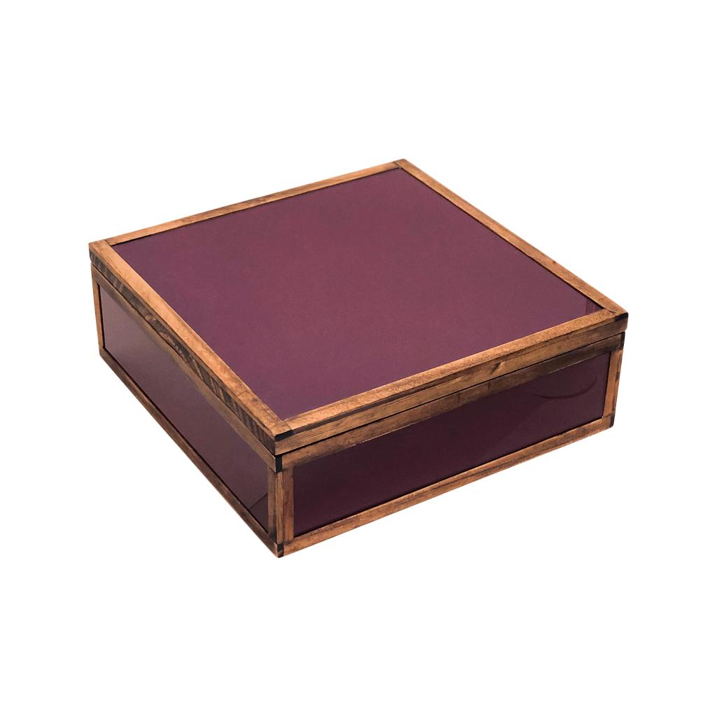 Caixa decorativa madeira com vidro