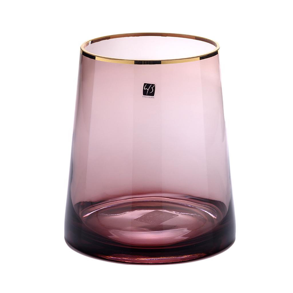 Vaso de vidro redondo lilás filete dourado
