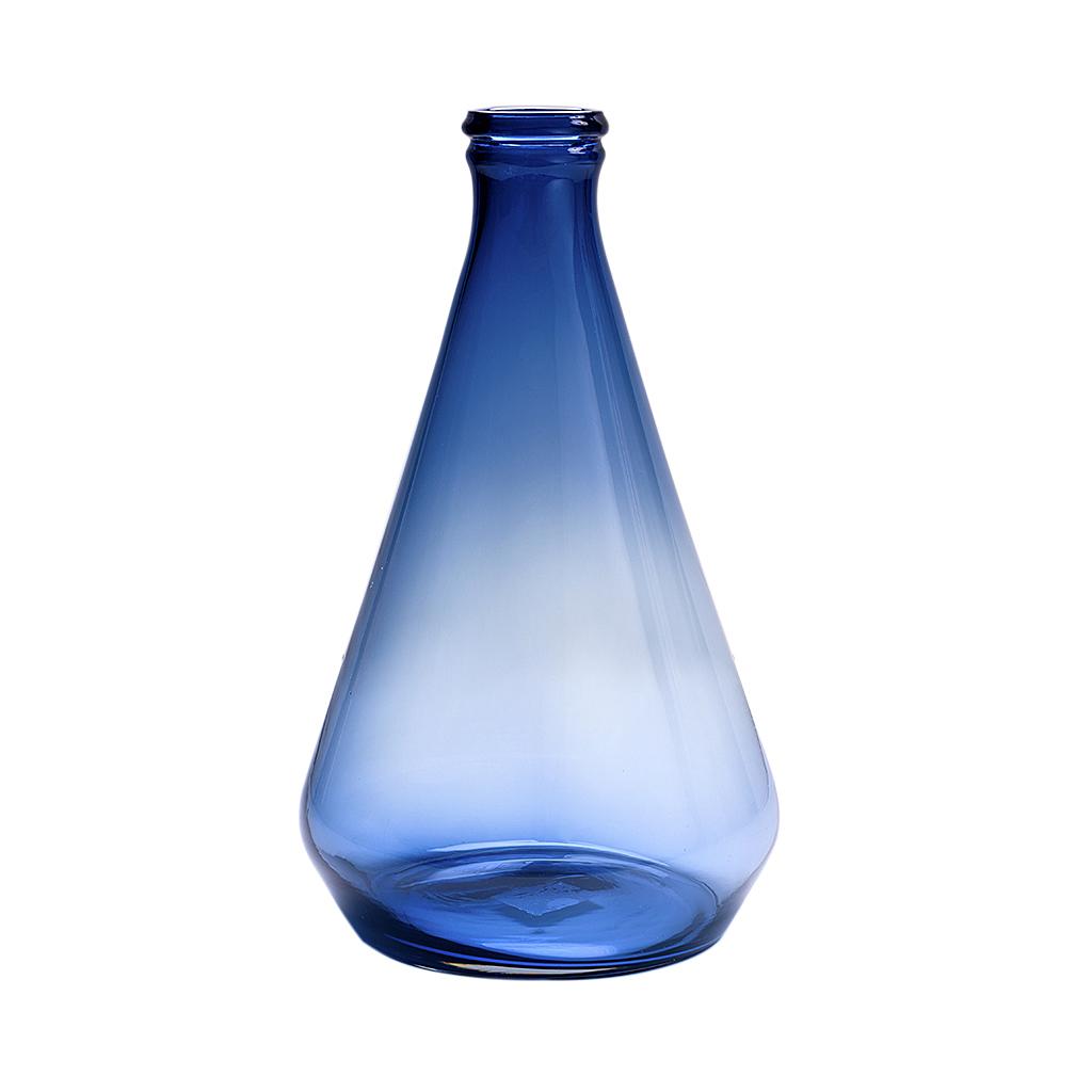 Garrafa de vidro alta azul