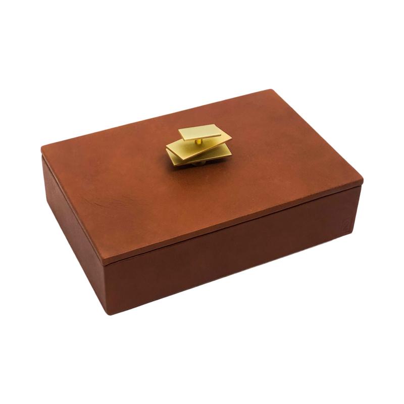 Caixa decorativa em couro