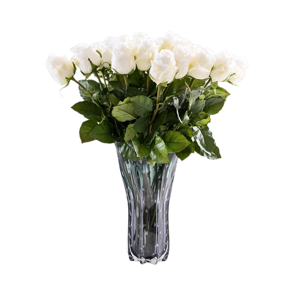 Vaso de vidro alto preto com verde