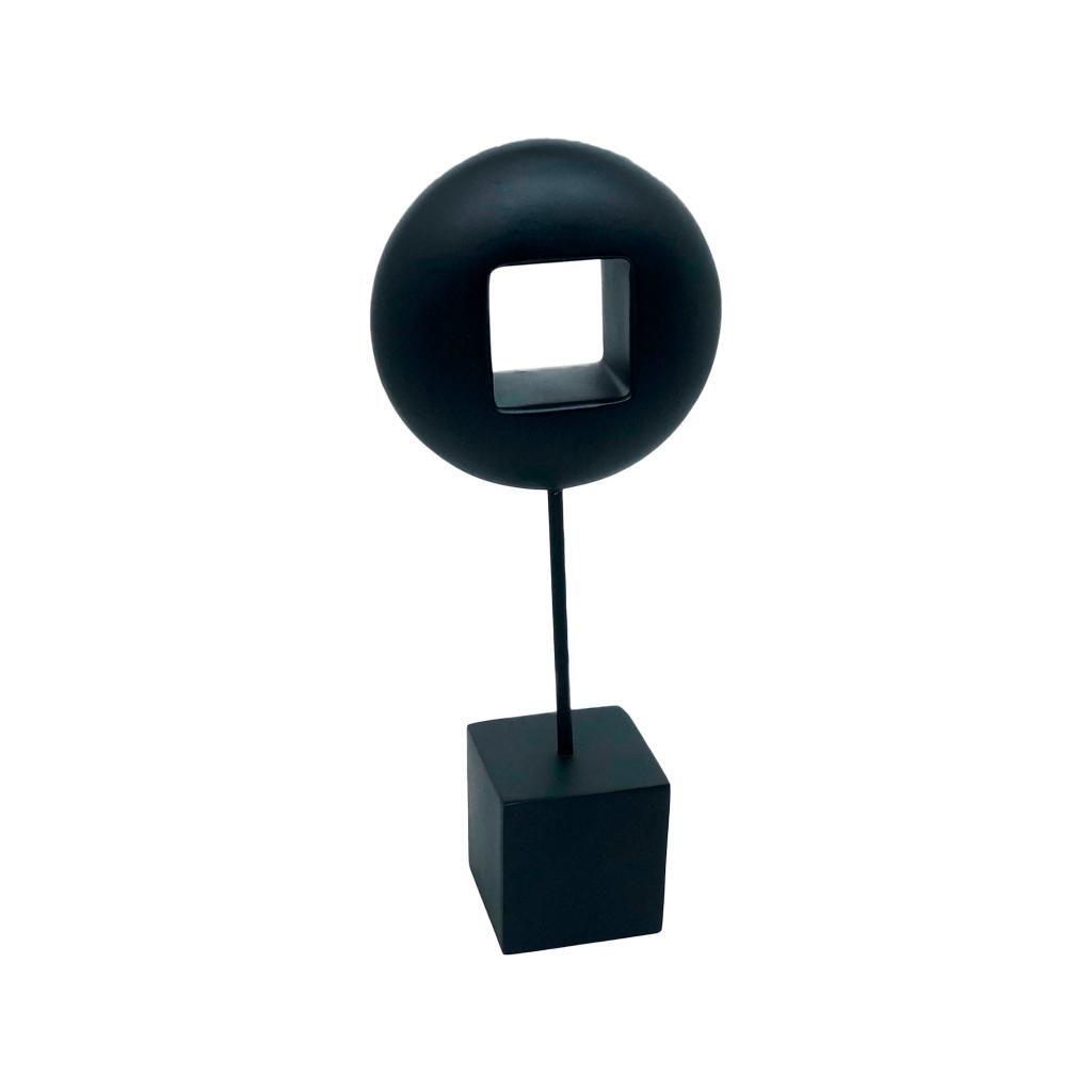 Escultura resina círculo vazado preto