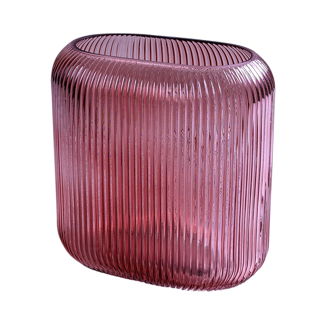 Vaso em vidro rosa oval