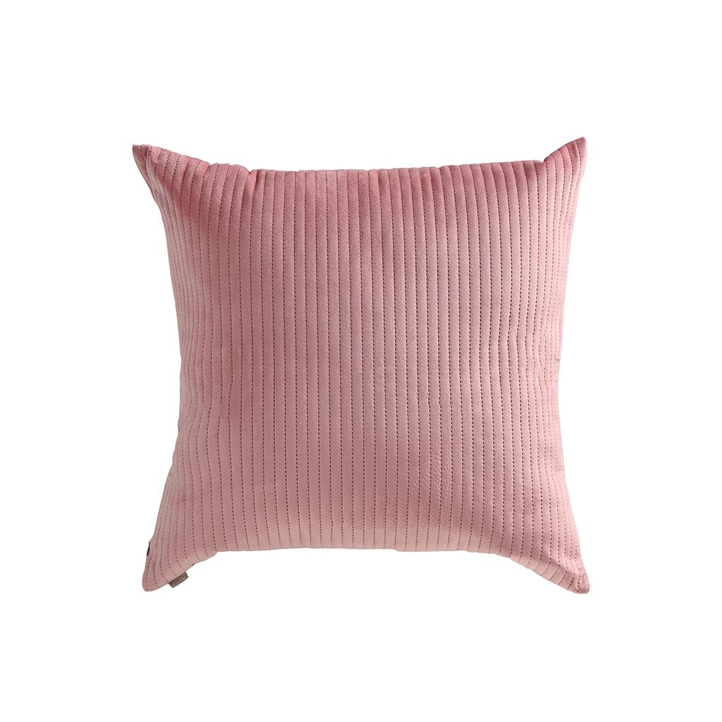 Almofada de veludo rosê cotelê